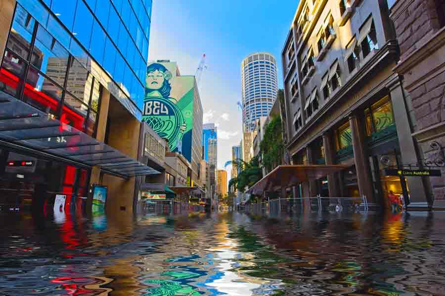 Aumento del nivel del mar (representación artística)