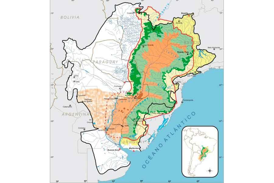 Mapa del acuífero Guaraní