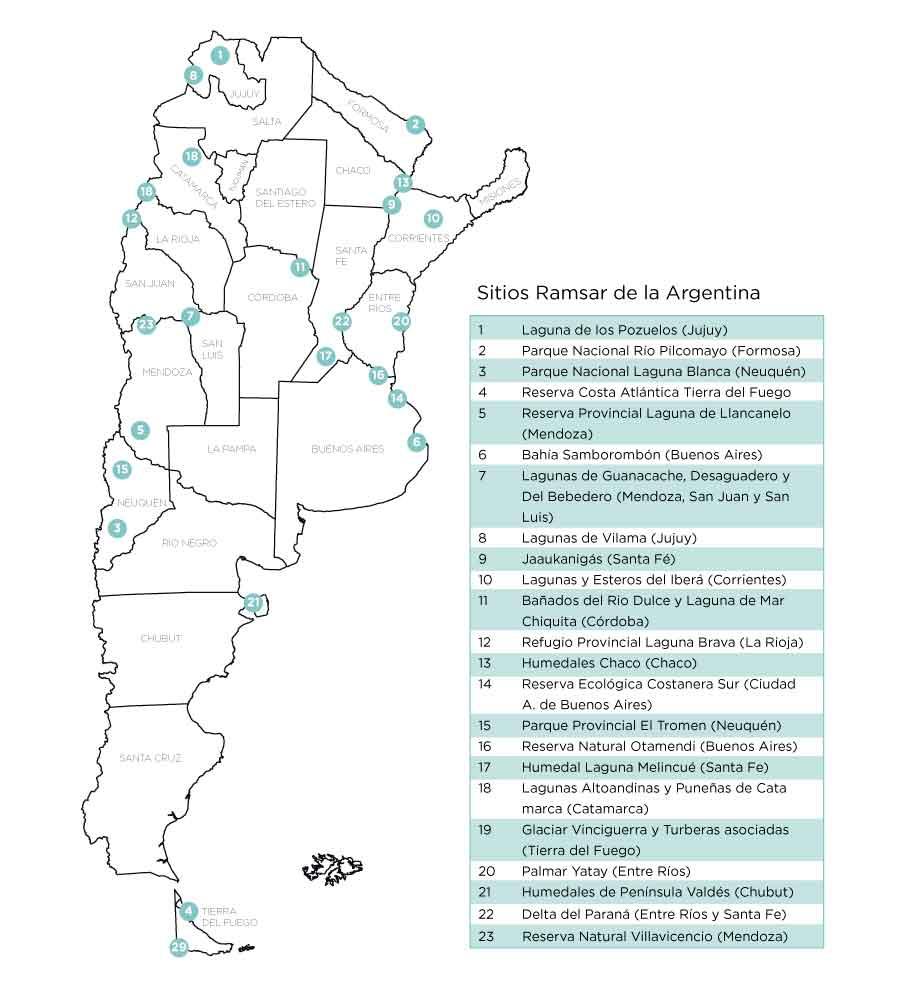 Mapa de sitios Ramsar en Argentina